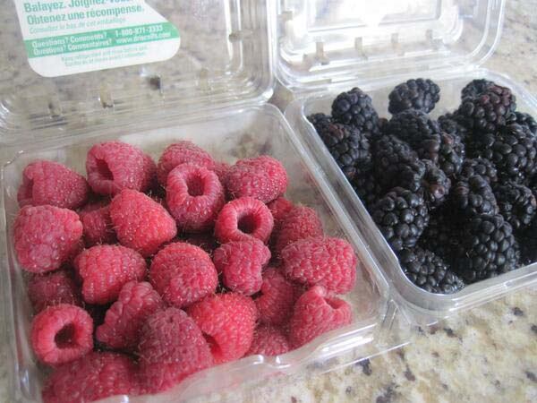 """1.""""I asked my husband to help me pick up raspberries and blueberries, and this is what he came back with."""""""