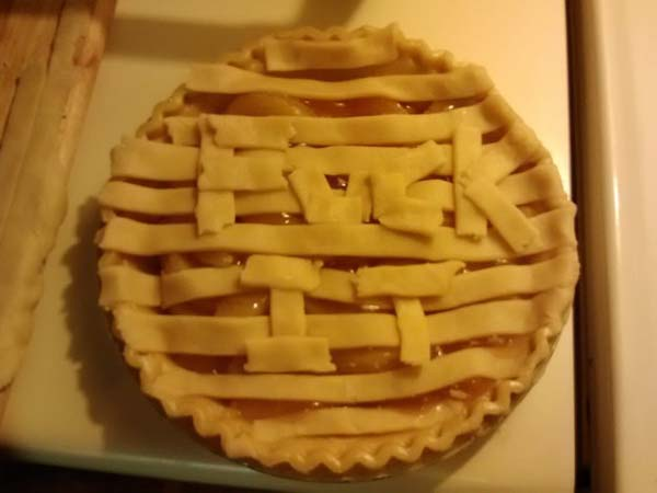 19.This husband attempted to make a lattice pie crust.
