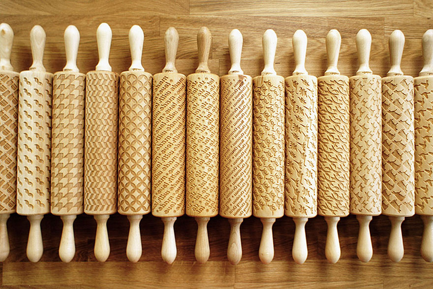 These Custom Engraved Rolling Pins Could Imprint Patterns into Your Cookie Dough.