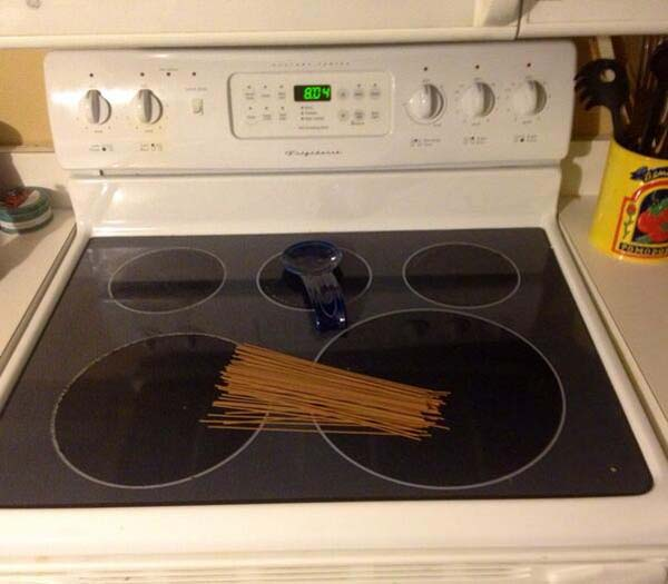"""3.""""Last night I asked my husband to put some spaghetti on the stove so I could start dinner when I got home. #clever"""""""