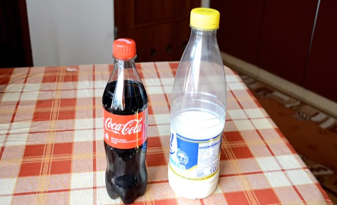 First, you start out with simple ingredients: Coke and Milk.