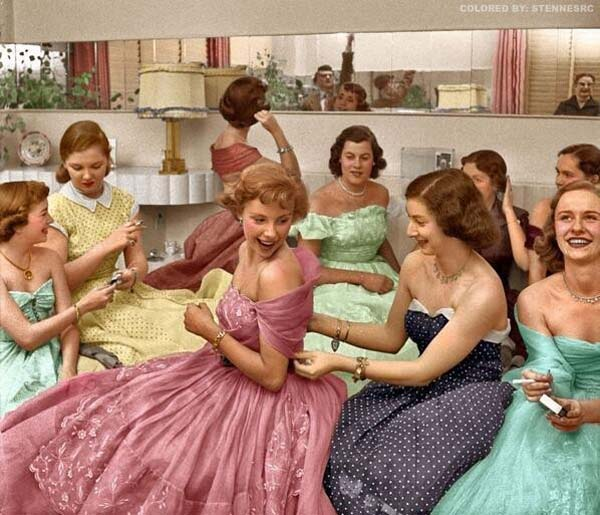 35. Young women attend a house party in this colorized photo (1950s).
