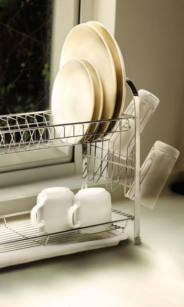 27. If you have a small kitchen, this two-tiered dish rack will save you space.