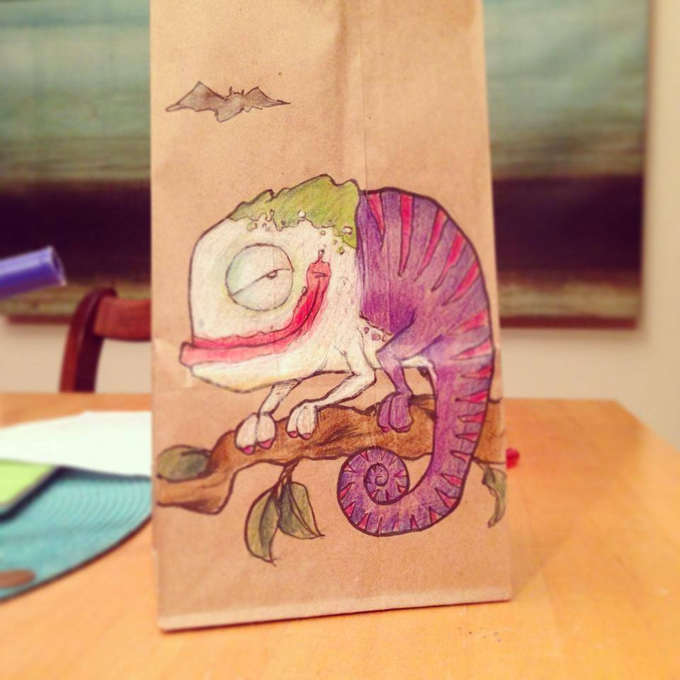 This Bag Daddy Who Drew cool cartoons On His Son's Lunch Bags Every Day. Can't You Just Be My Daddy?