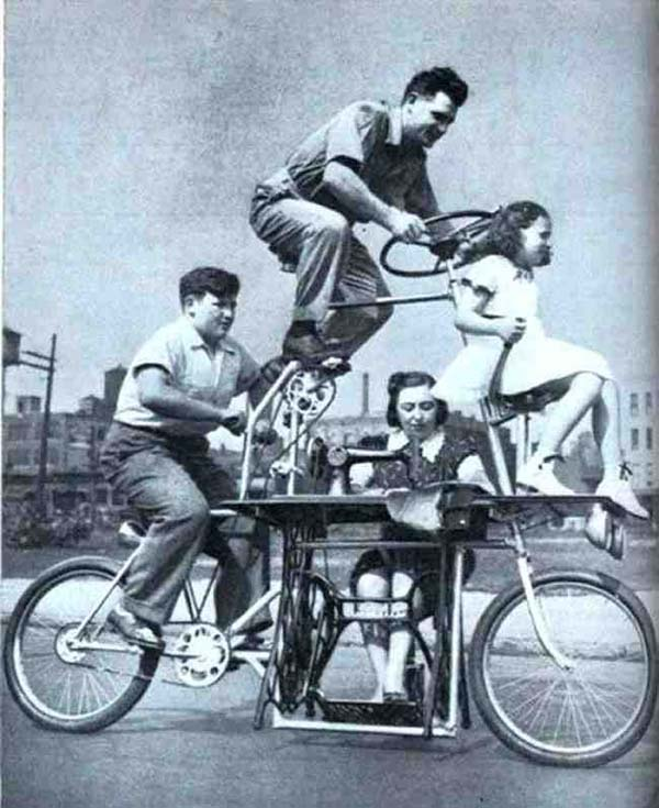 24. This bicycle fit a family of four and it included a sewing machine (1939).