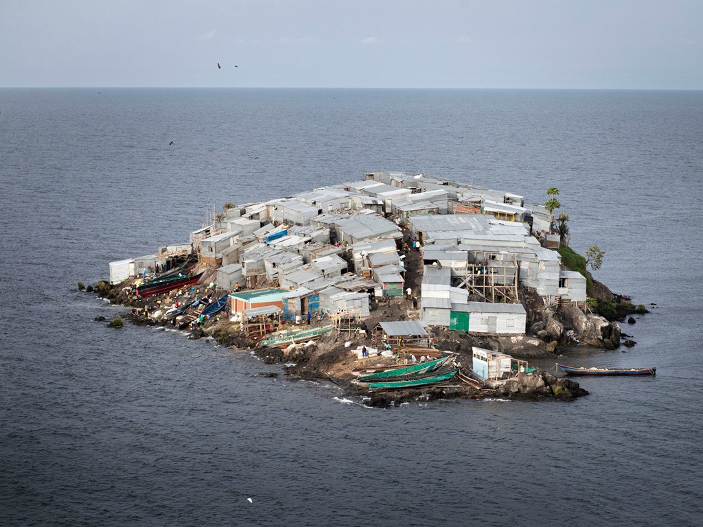 most densely populated places on Earth  Migingo Island, Lake Victoria, claimed both by Kenya and Uganda