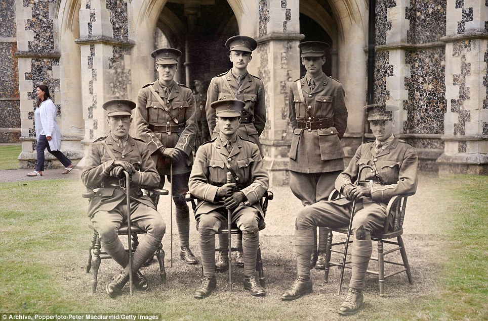 century-old photos of World War 1 soldiers. it's been 100 years now Officers at the Lancing College Officer Training Corps in West Sussex in 1917