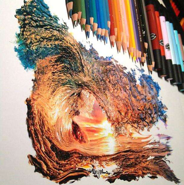 Intricate Colored Pencil Drawing of a Wave