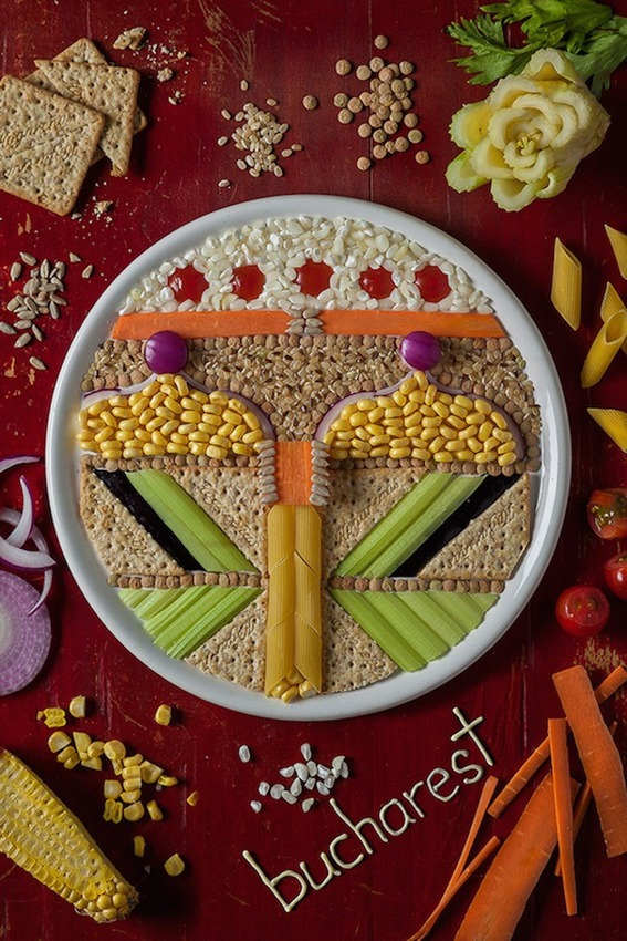 Food artist creates some fascinating illustrations of European capitals and stuffs Bucharest