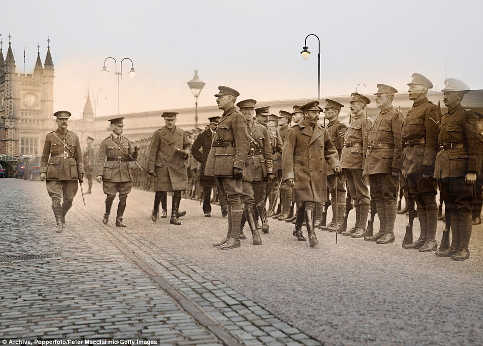 century-old photos of World War 1 soldiers. it's been 100 years now King George V inspects troops in Bristol circa 1915