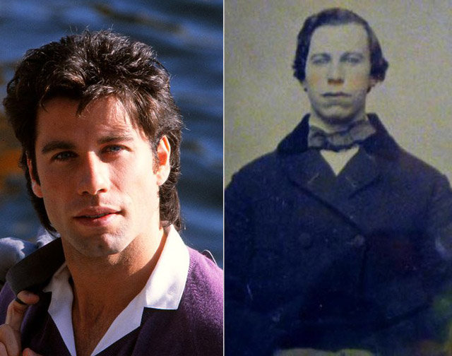 6. John Travolta and unknown man from the 1860s.