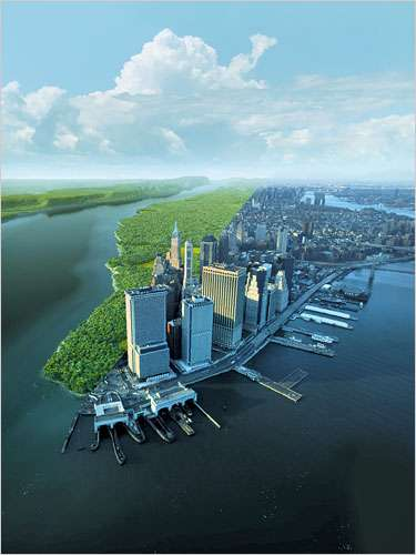 Present Day Manhattan Versus What It Would Have Looked Like 600 Years Ago