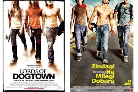 Bollywood movie posters inspired from Hollywood Lords of Dogtown / Zindagi Na Milegi Dobara