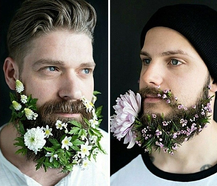 Who says that beards should all be mannish? They could also be decorated with flowers! It's the latest trend!