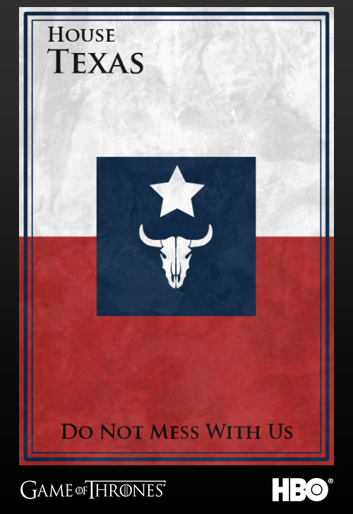 'Game of thrones' fans State Sigils HBO's website Texas