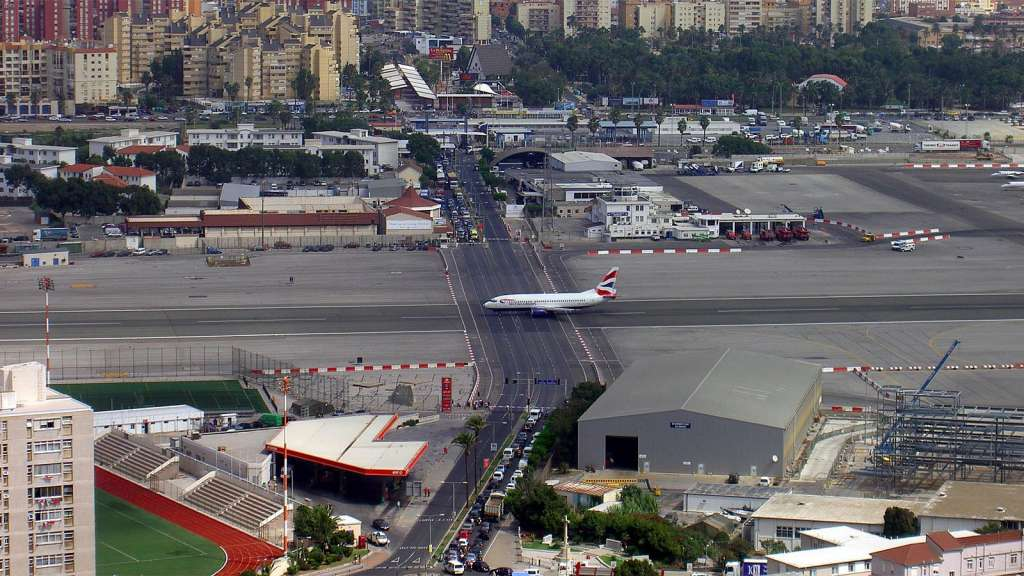 The Runway at the Gibraltar International Airport Has a Road Crossing It