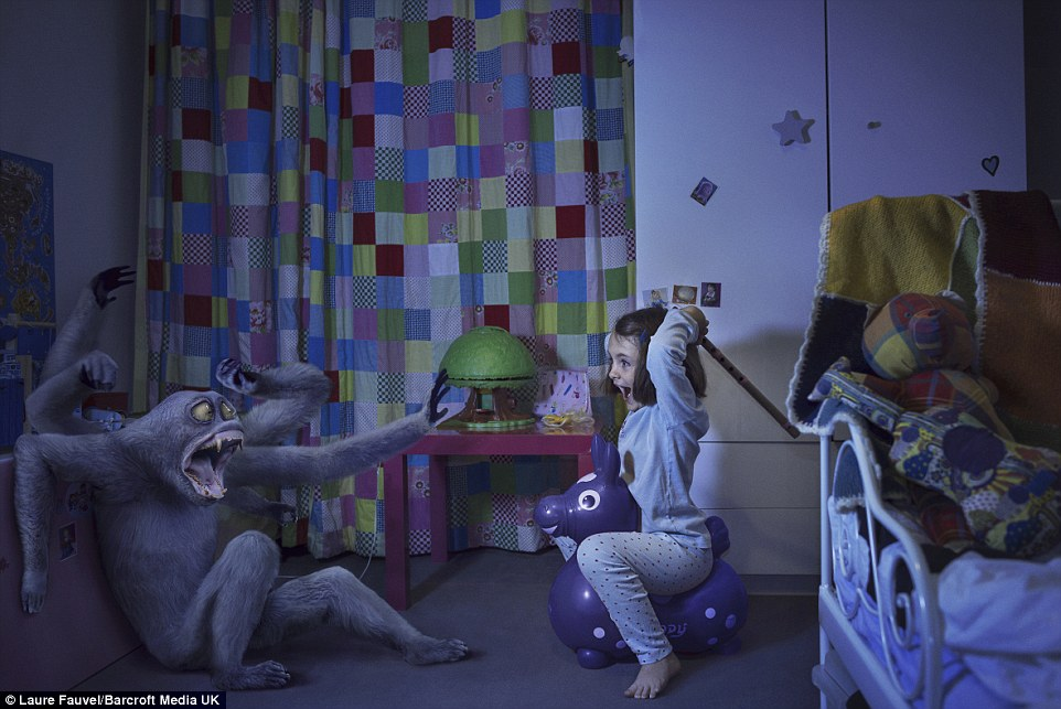 Laure Fauvel's series of children agaisnt monsters or beasts