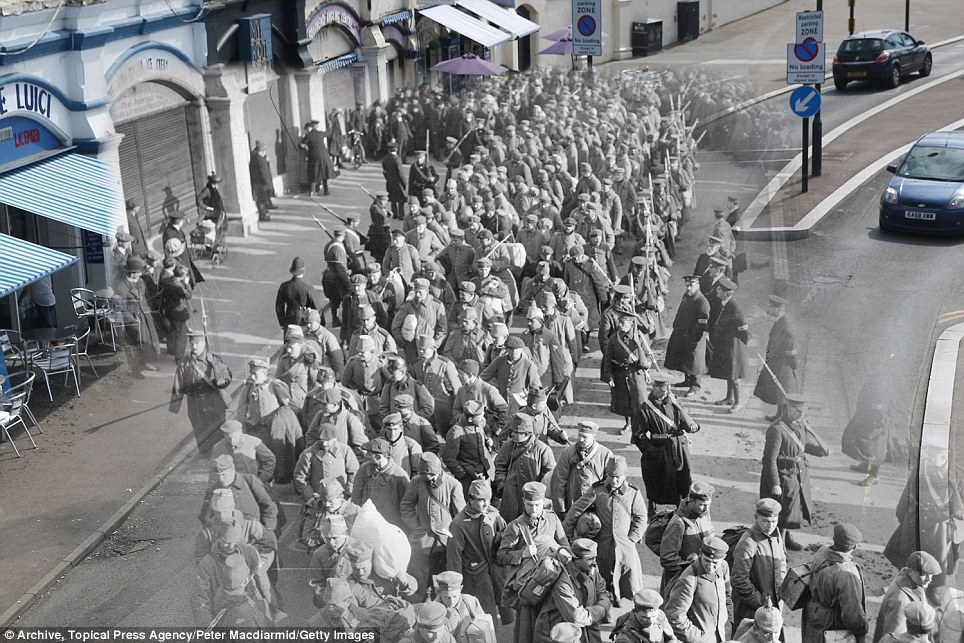 century-old photos of World War 1 soldiers. it's been 100 years now Southend Pier in Essex in 1914