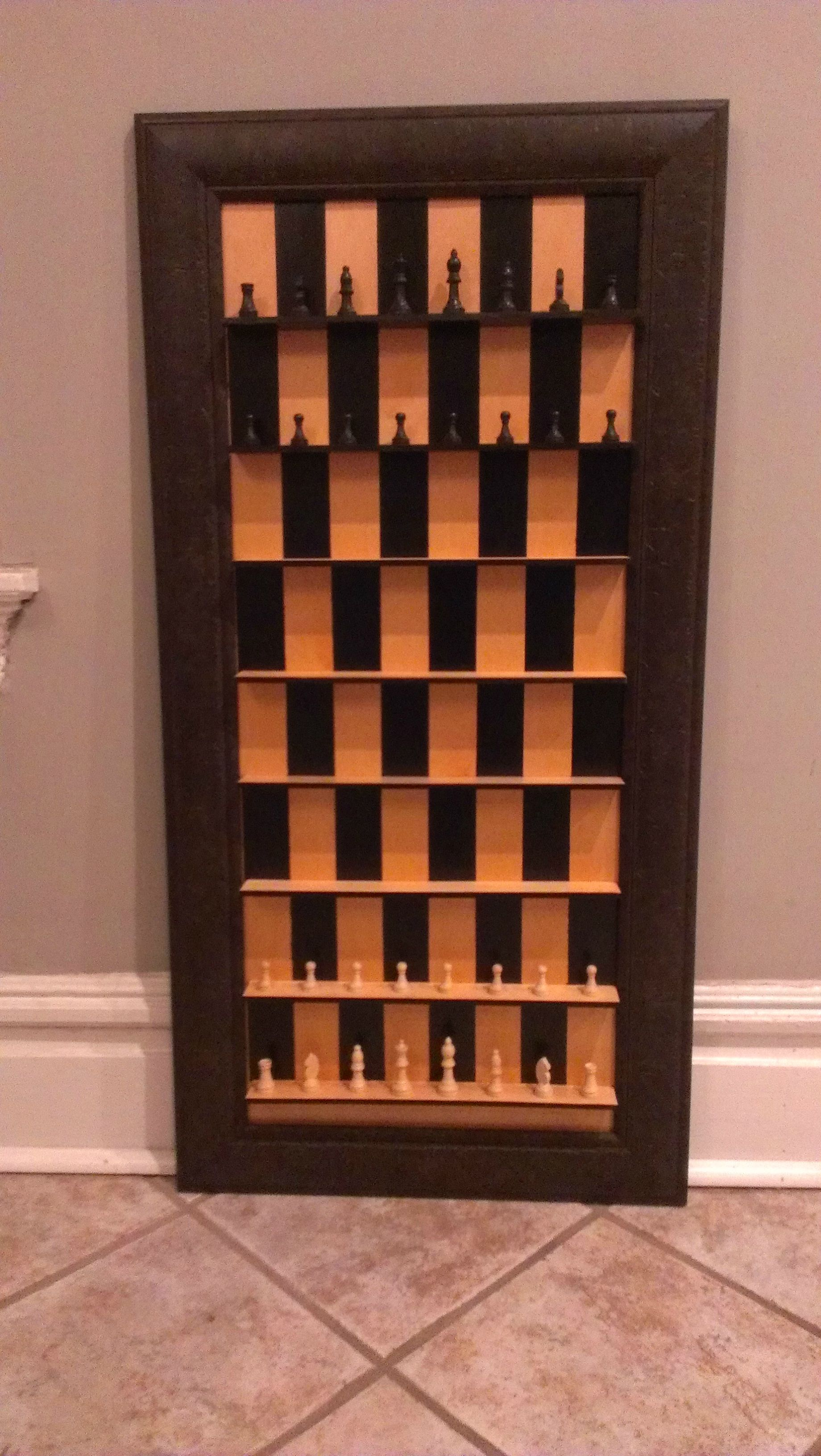 Another genius again this chess lover has built a vertical chess set on the wall this is - Chess board display case ...