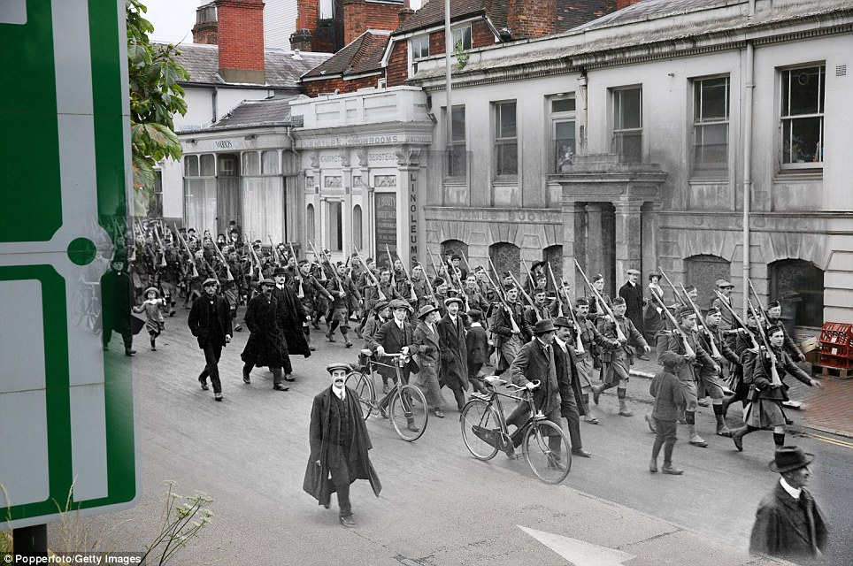 century-old photos of World War 1 soldiers. it's been 100 years now Departure of the Liverpool Scottish Regiment