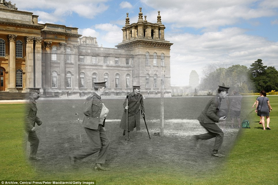 century-old photos of World War 1 soldiers. it's been 100 years now Blenheim Palace around 1916