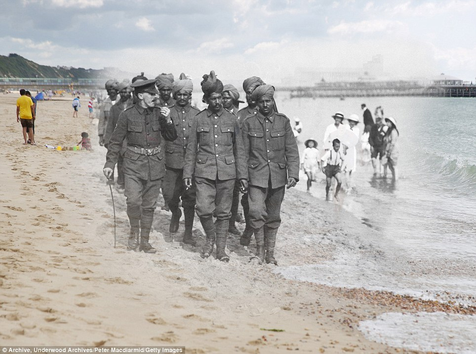 century-old photos of World War 1 soldiers. it's been 100 years now Flanders recuperate on Bournemouth beach in 1917