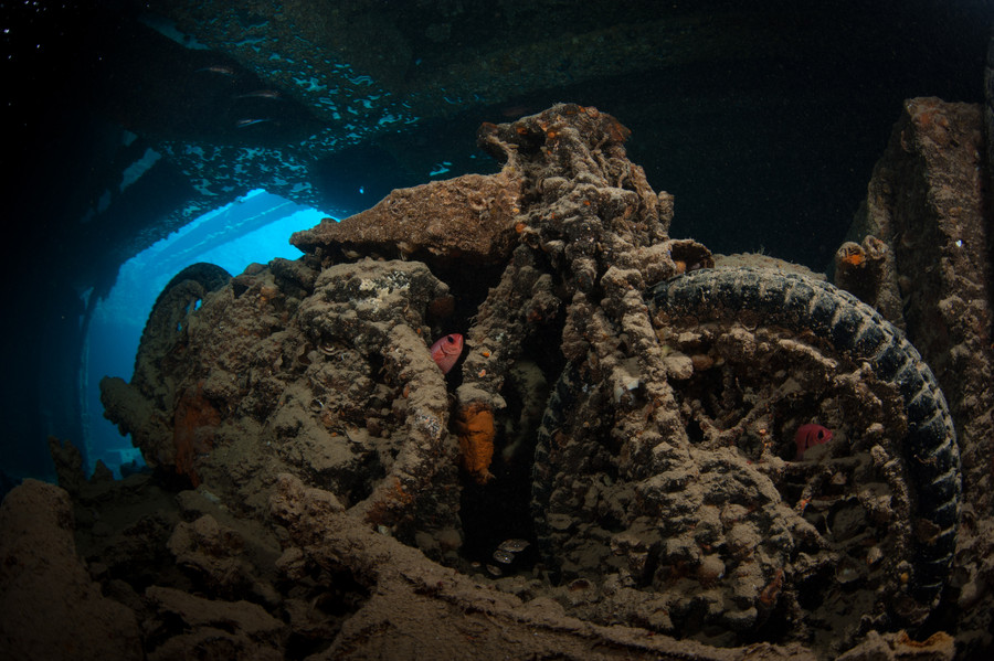 Photograph Motorbike #2 inside SS Thistlegorm wreck by Marko Dragoljevic on 500px