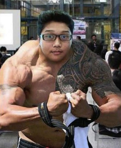 funny photoshop muscle neck