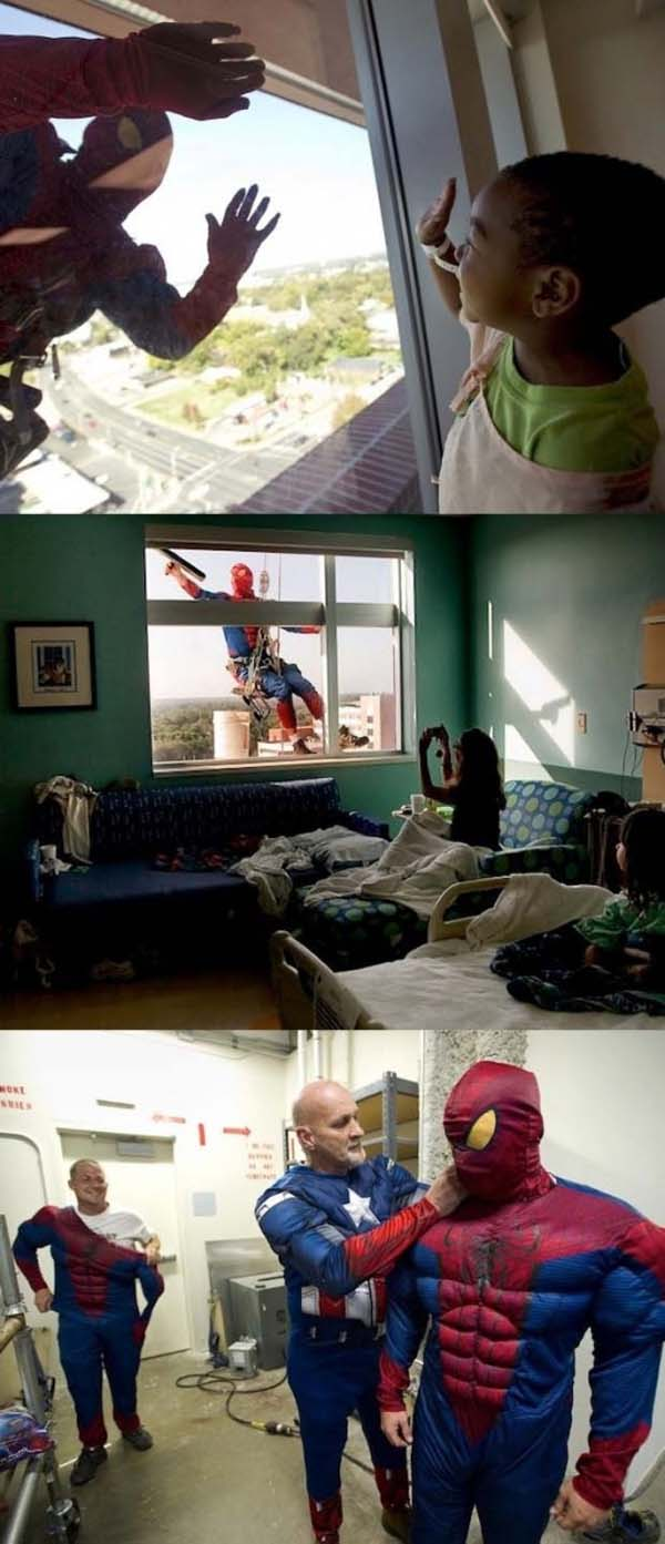 10.) Some window washers dress up as superheroes to cheer up sick kids in hospitals.