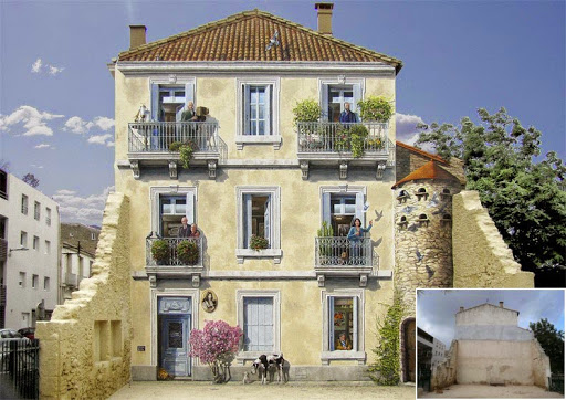Stunning work by French Artist Patrick Commecy: dull facades were transformed into lively scenes full of life