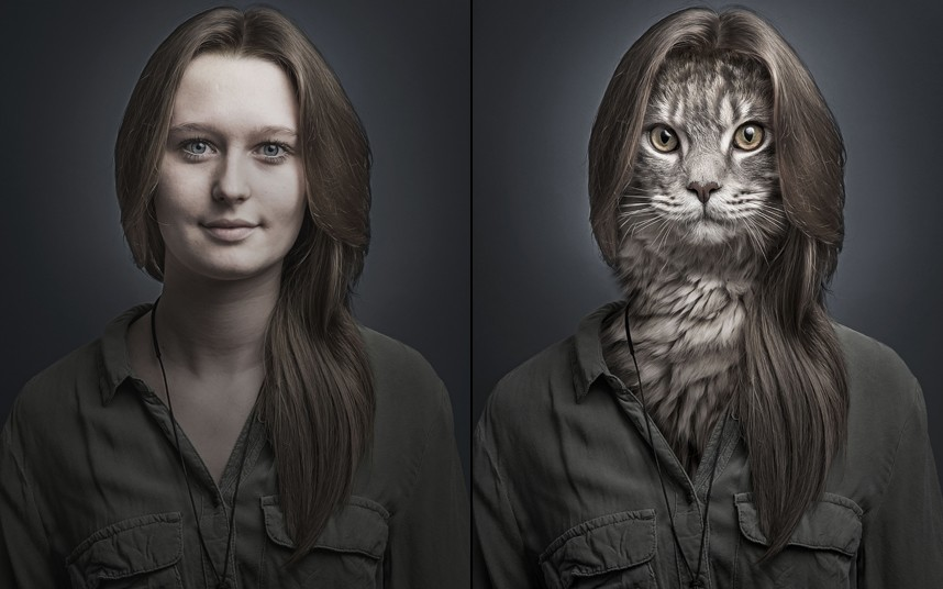 This is a cat world! 'Undercats': A Portrait Series Featuring Cat Faces Digitally Merged With the Bodies of Their Humans