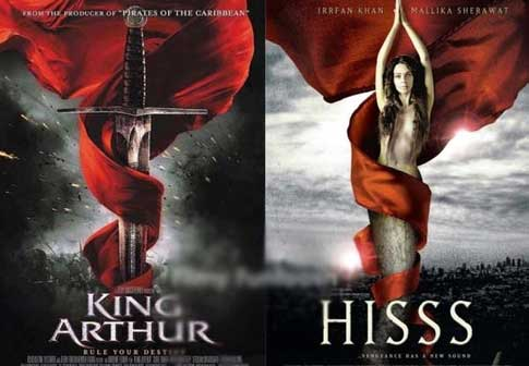 Bollywood movie posters inspired from Hollywood King Arthur / Hisss