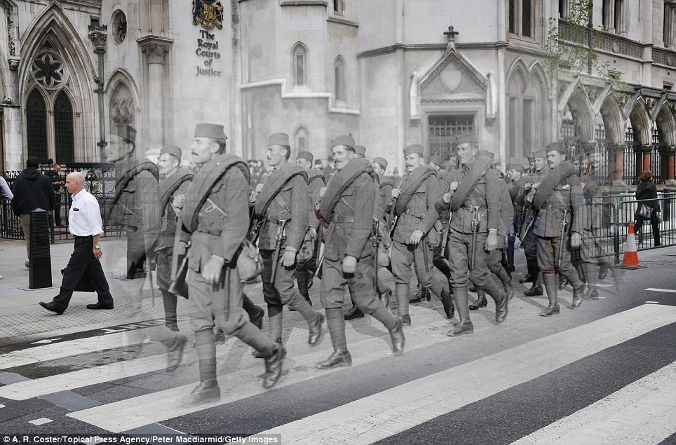 century-old photos of World War 1 soldiers. it's been 100 years now Serbian soldiers march in the Lord Mayor's show in London