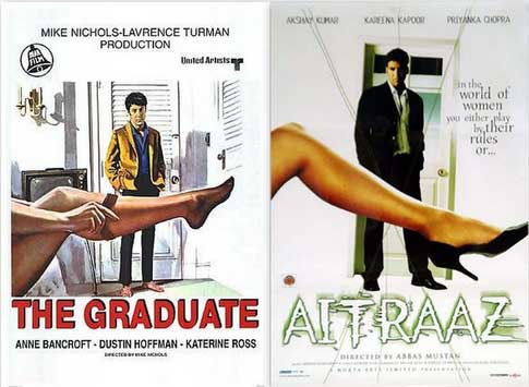 Bollywood movie posters inspired from Hollywood The Graduate / Aitraaz