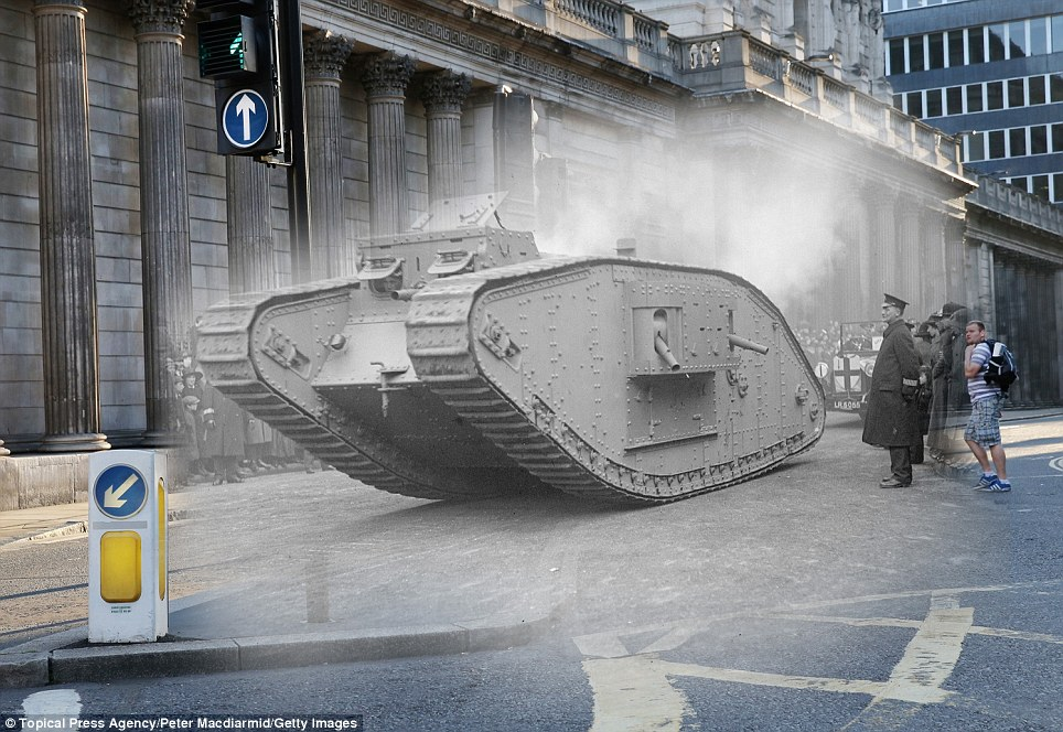 century-old photos of World War 1 soldiers. it's been 100 years now A 'male' MKIV tank at the Lord Mayor's show in 1917 in London