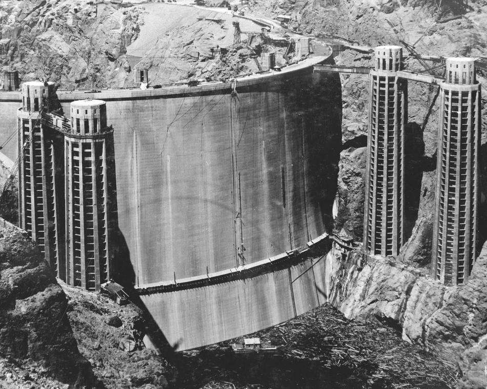 Rarely Seen Back of the Hoover Dam Before It Was Filled with Water in 1936