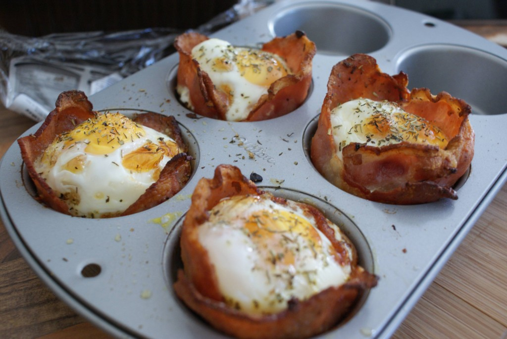 amazing recipe of breakfast cupcake with bacon and egg