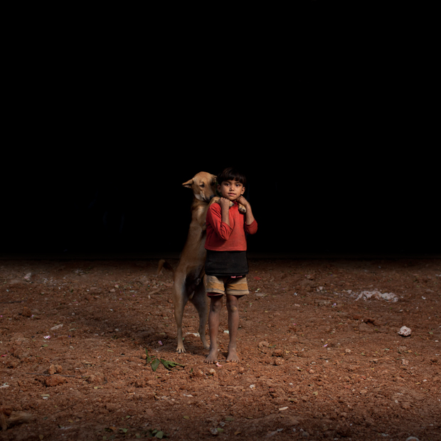 photographs of kids and their stray dogs in Bangladesh