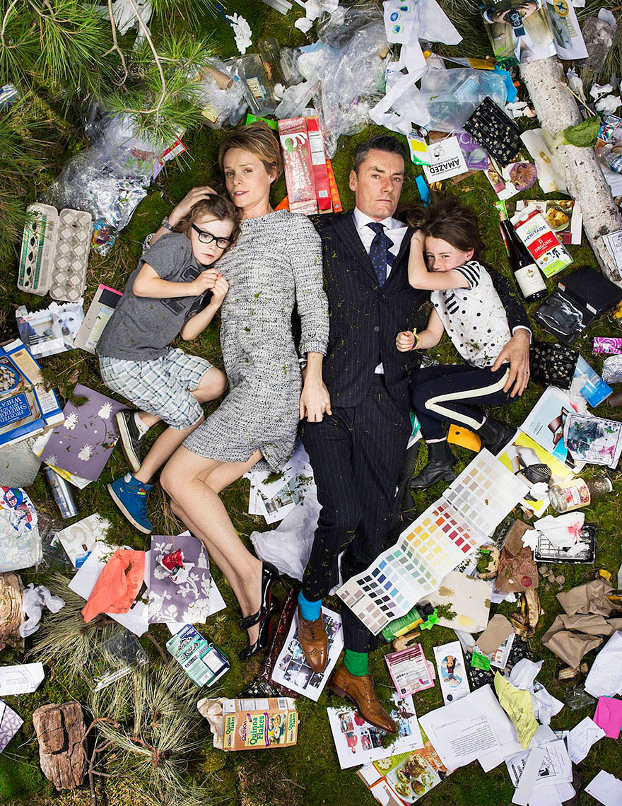 powerful photographs that show how much trash people produce per week 7 days of garbage
