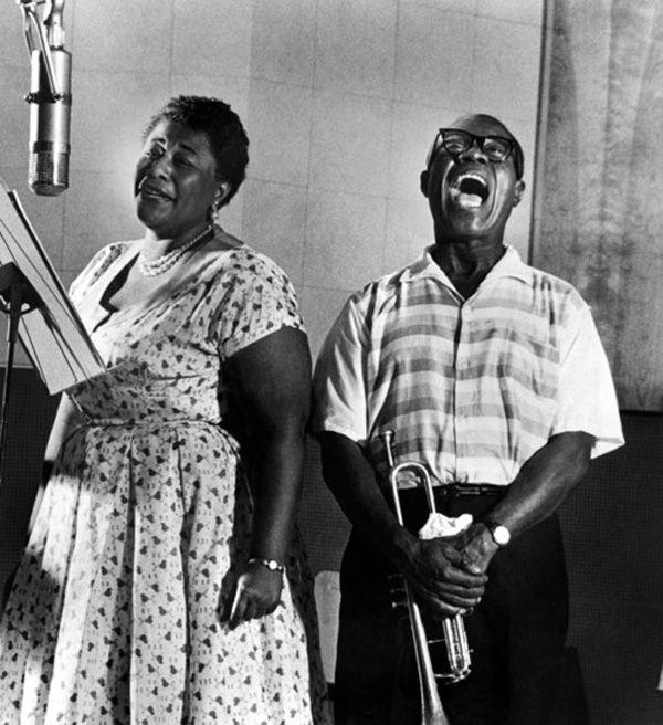 rare photos of the old and the dead Ella Fitzgerald and Louis Armstrong