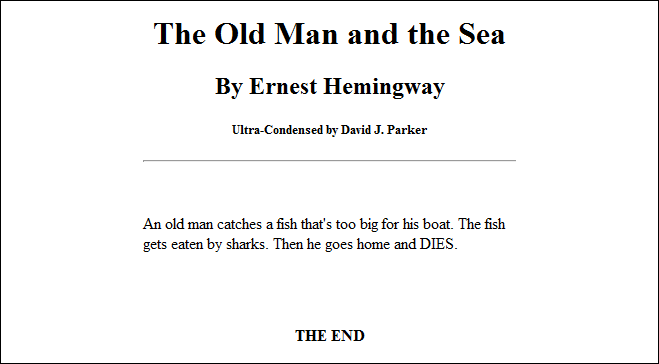 Ultra-Condensed Classic Books  The Old Man and the Sea