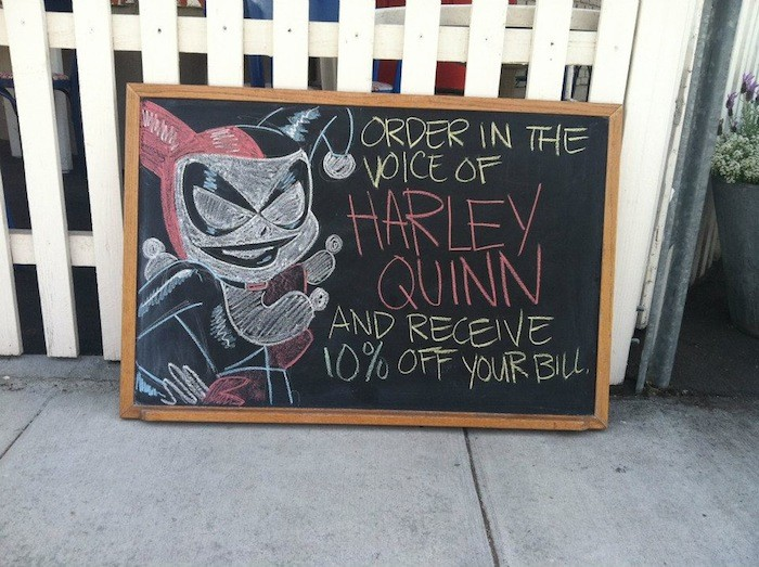 You can get discount by ordering in famous character's voices in Not a Burger Stand
