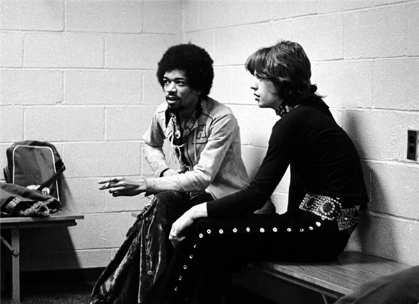 rare photos of the old and the dead Jimi Hendrix & Mick Jagger, New York, 1969