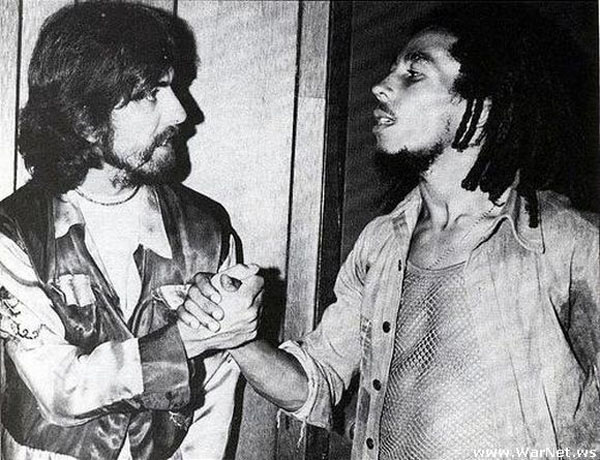 rare photos of the old and the dead George Harrison and Bob Marley