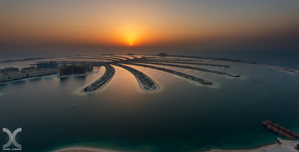 fancy photographs of some big cities by Daniel Cheong   Palm Island Sunset