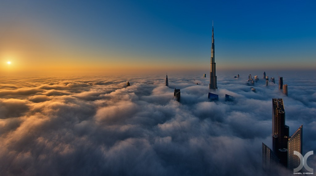 fancy photographs of some big cities by Daniel Cheong   Sunrise on Cloud City
