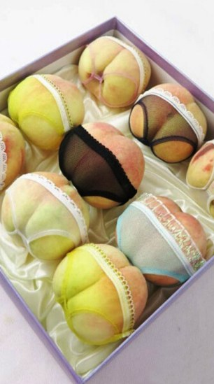 Chinese businessman dresses his fruit in lingerie for the coming Chinese Valentine 's Day