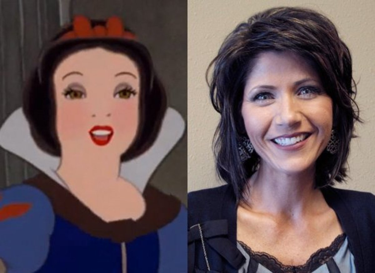 Politicians Who Look Like Disney  Rep. Kristi Noem (R-S.D.) & Snow White (Snow White and the Seven Dwarves)
