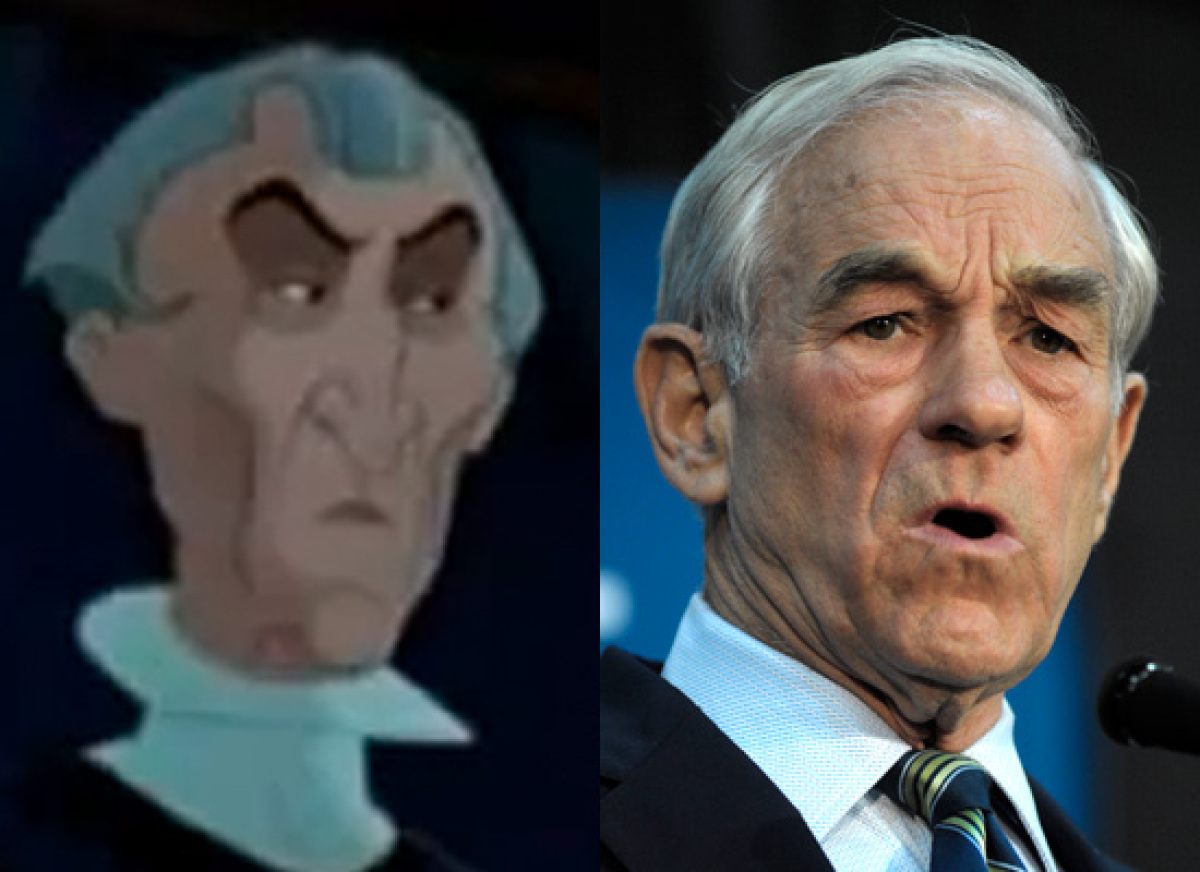 Politicians Who Look Like Disney  Former Rep. Ron Paul (R-Texas) & Claude Frollo (The Hunchback of Notre Dame)