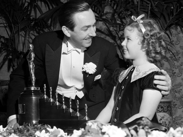 rare photos of the old and the dead Walt Disney and Shirley Temple
